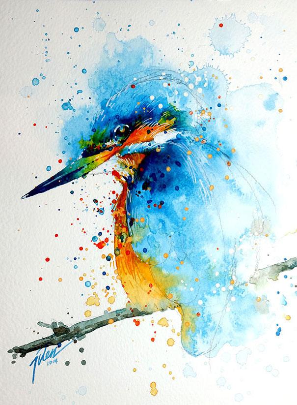 605x823 Splashed Watercolor Paintings By Tilen Ti Bored Panda
