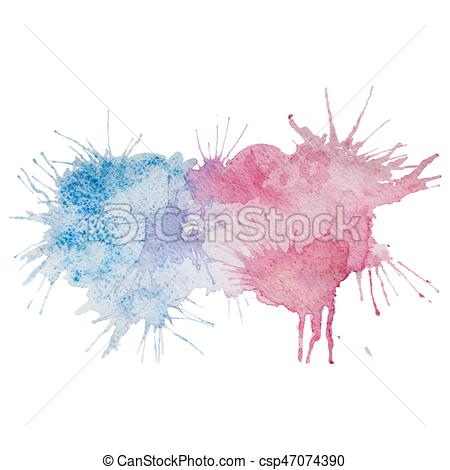 450x470 Vector Pink And Blue Watercolor Splash Stain. Vector Watercolor