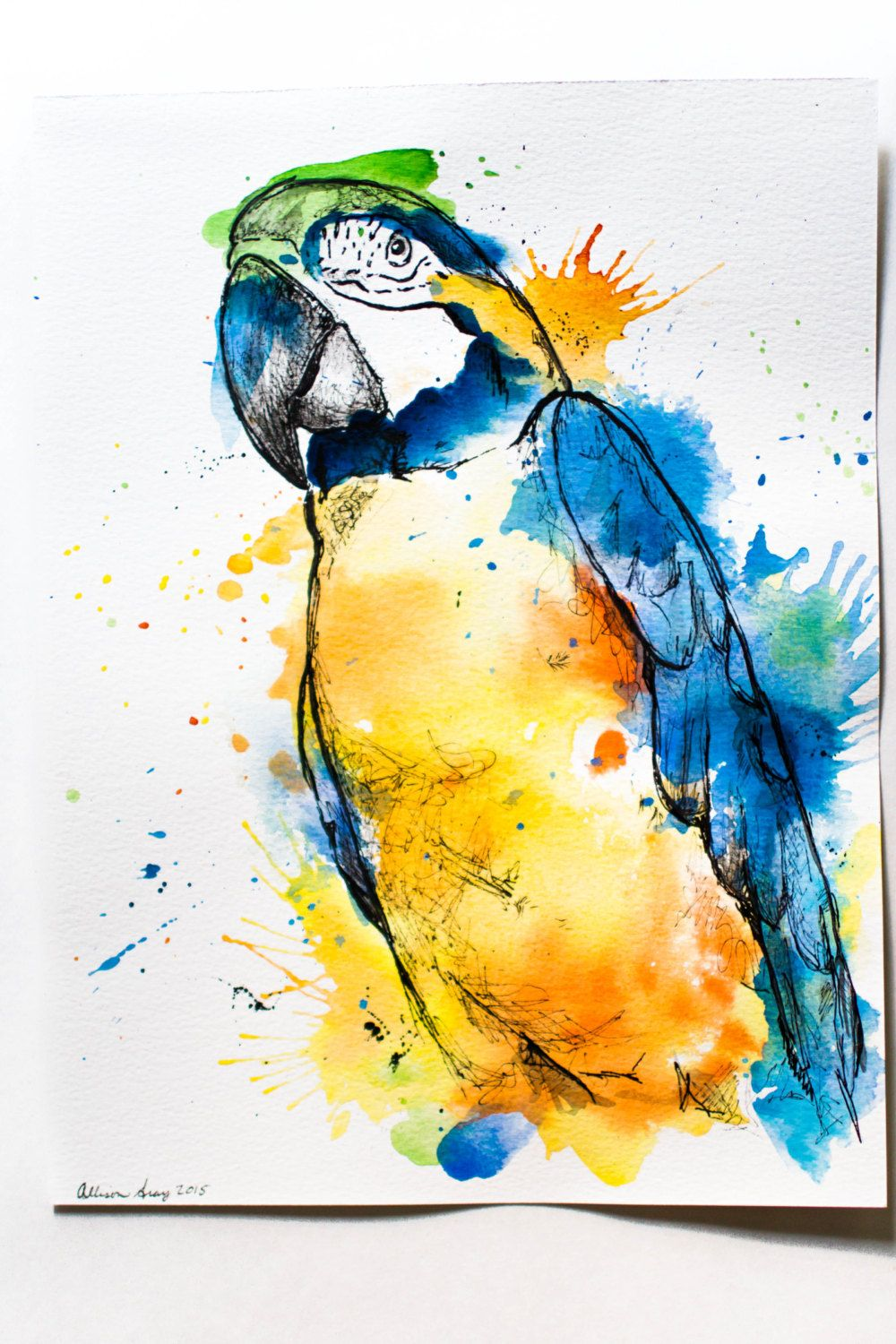 1000x1500 Watercolor Macaw