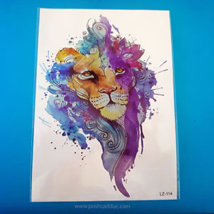 300x300 Watercolor Splash Art Colorful Temporary Waterproof Tattoo Lion