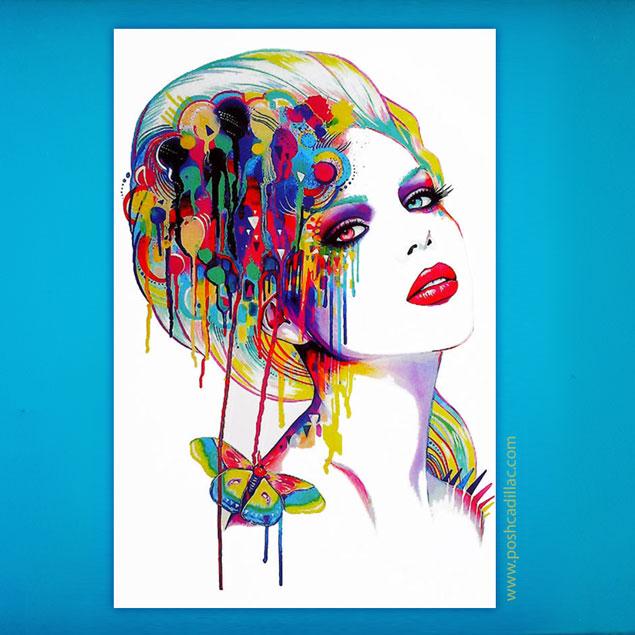 635x635 Watercolor Splash Art Temporary Waterproof Tattoo Femme Fatale