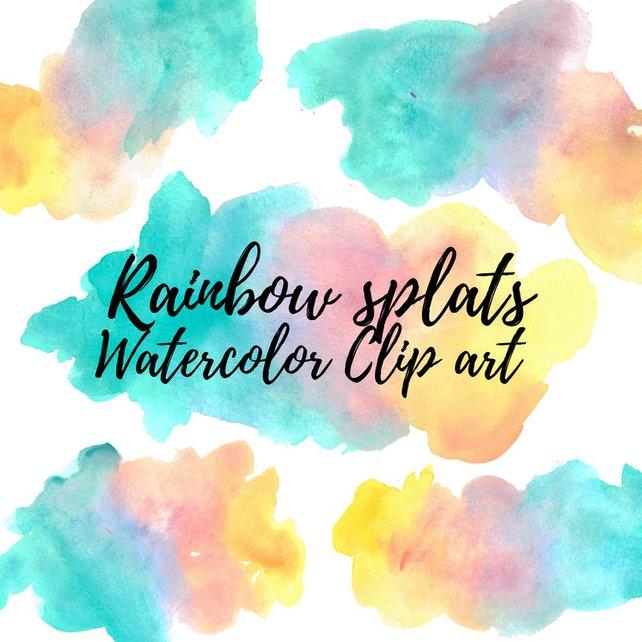 642x642 Watercolor Splash Rainbow Clip Art Watercolor Blob Paint Etsy