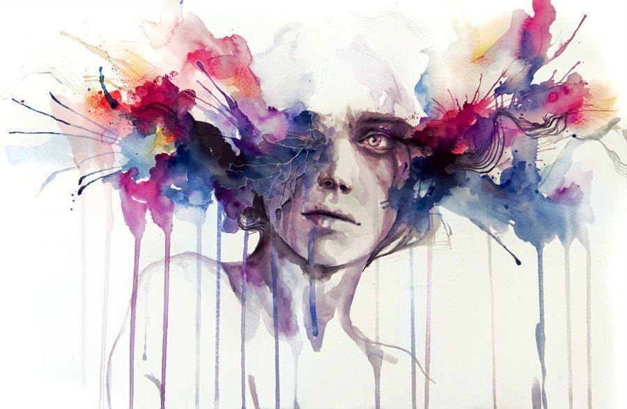 900x588 Modern Art Watercolor Portrait Color Brains Head Exploding Drip