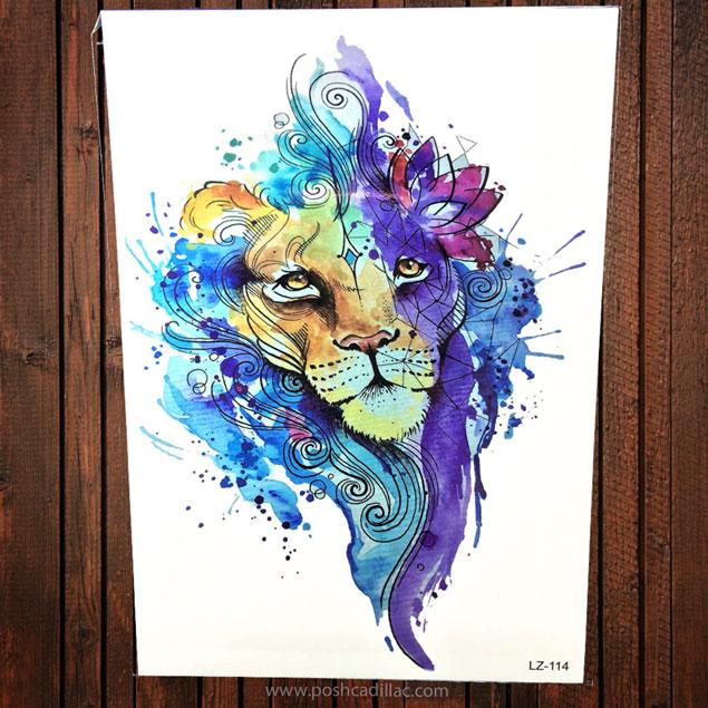635x635 Big Watercolor Splash Art Colorful Temporary Waterproof Tattoo