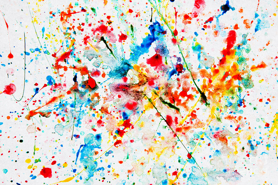 900x599 Colorful Watercolor Splash On White Paper Photograph By Michal
