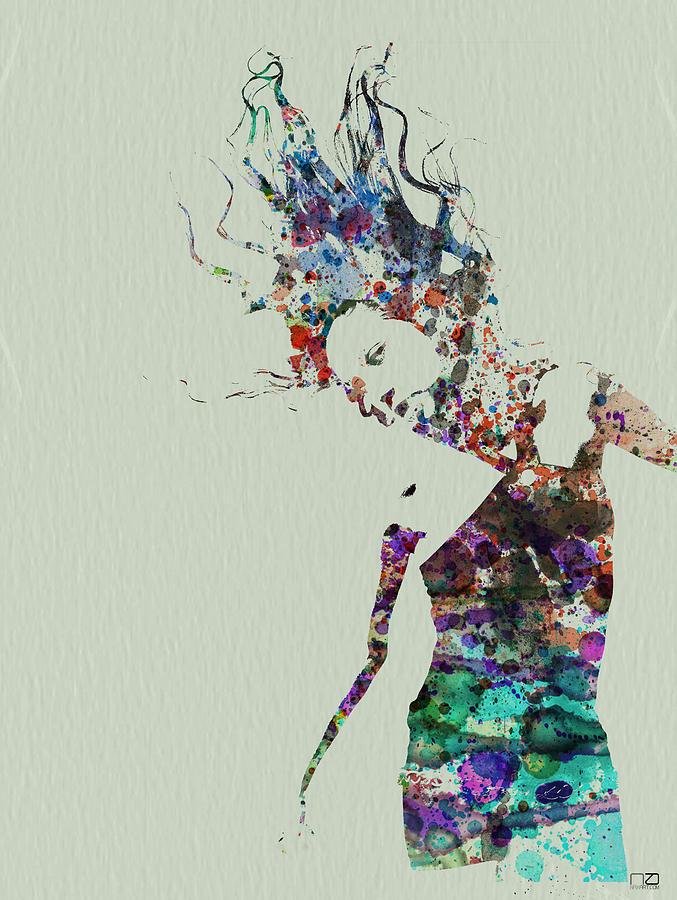 677x900 Dancer Watercolor Splash Painting By Naxart Studio