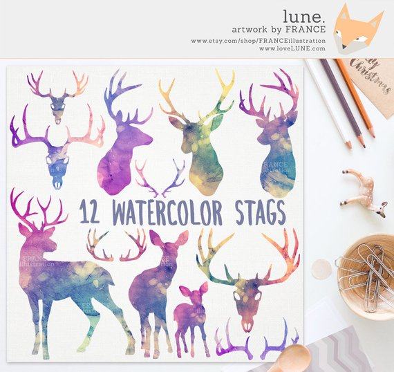 Watercolor Stag