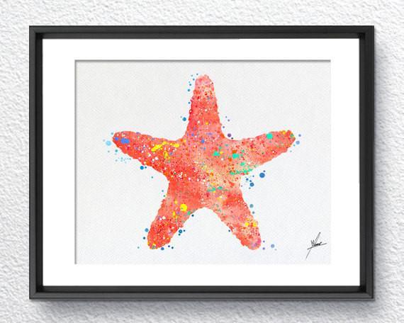 570x456 Red Starfish, Watercolor Print, Wall Decor, Room Decor, Nautical