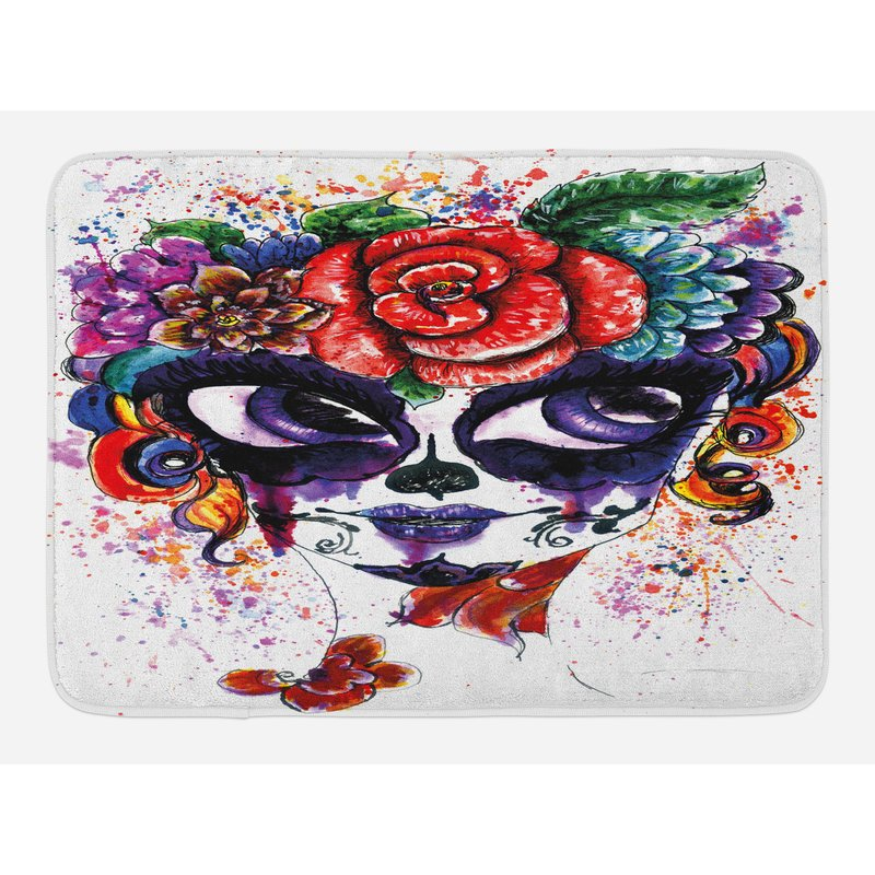 800x800 East Urban Home Watercolor Sugar Skull Bath Rug Wayfair