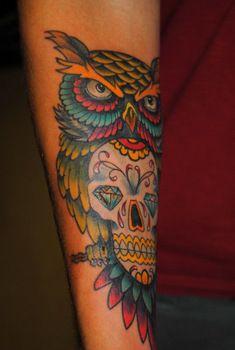 235x350 Watercolor Sugar Skull Owl Tattoo Owl Amp Sugar Skull Tattoo By