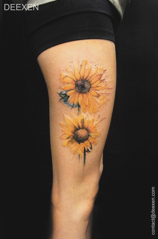 35a1d3c3720dd Watercolor Sunflower Tattoo at GetDrawings.com   Free for personal ...