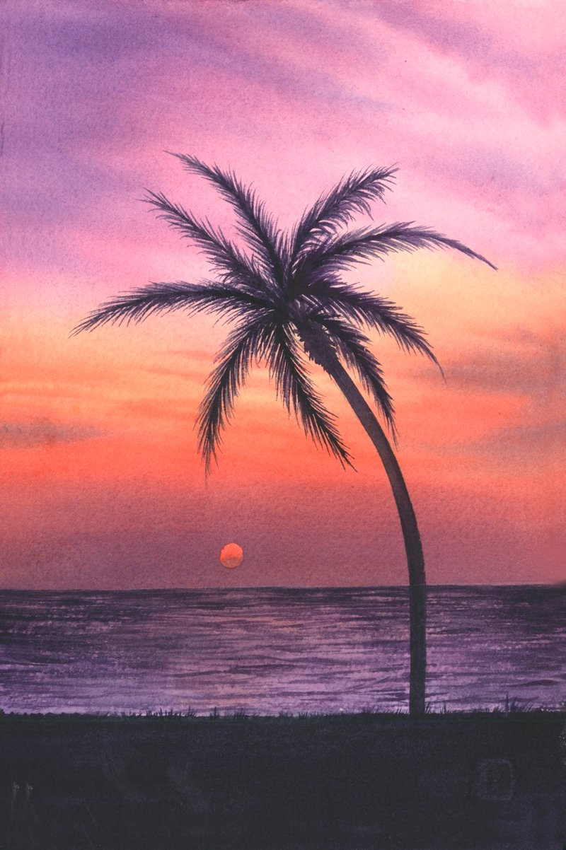 800x1202 Sunset Watercolor Paintings For Beginners Pictures Easy Sunset