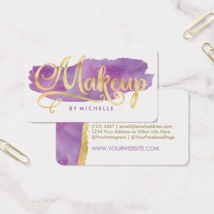 422x422 Purple And Gold Business Cards Gold On Purple Watercolor Swash