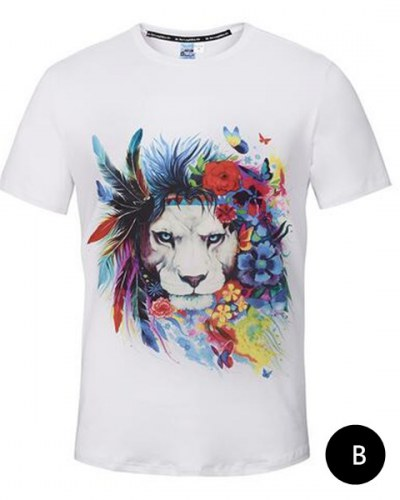 400x500 Watercolor Feather Lion T Shirt For Men Short Sleeve White T