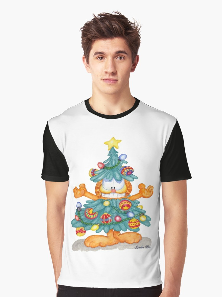 750x1000 Garfield Christmas Watercolor T Shirt Print And Cards Graphic T