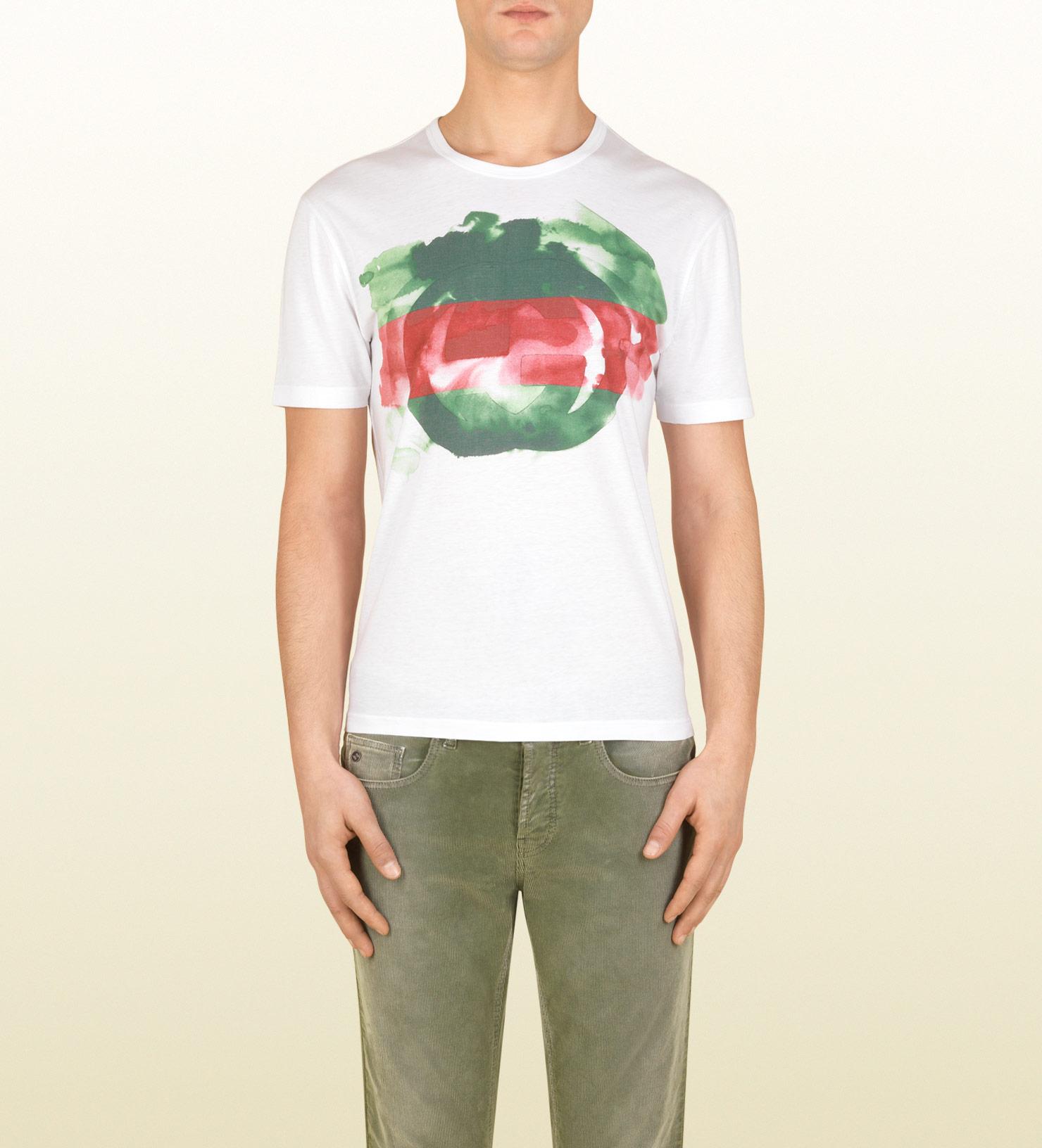 92e7047618307 1480x1632 Gucci Cotton Jersey Watercolor Print Tshirt In White For Men
