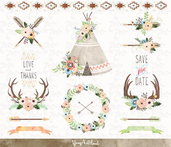 570x488 Watercolor Floral Tribal, Floral Teepee Clip Art, Floral Antlers