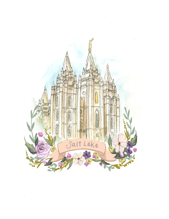 570x738 Salt Lake Watercolor Temple Digital Print, Salt Lake City Utah