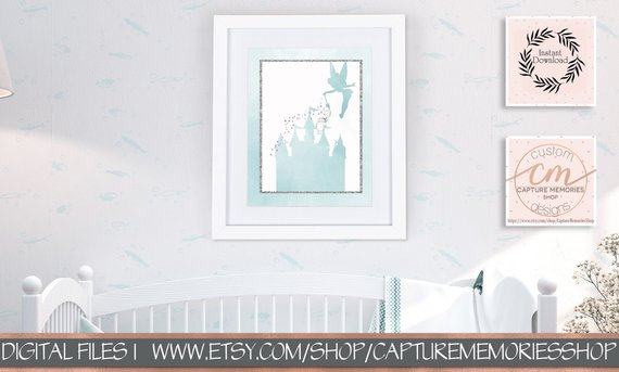 570x343 Disney Castle Print, Tinkerbell, Fairy, Castle, Girls Nursery Art