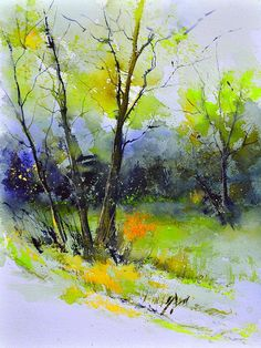 Watercolor Tree Landscape