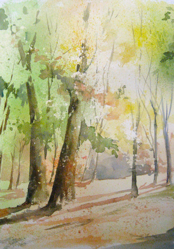 570x814 Original Watercolor Painted In My Studio. Features Colorful Trees