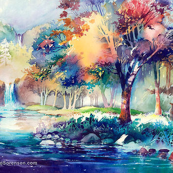 354x354 Watercolor Painting Landscape Print By From Michaeldavidsorensen