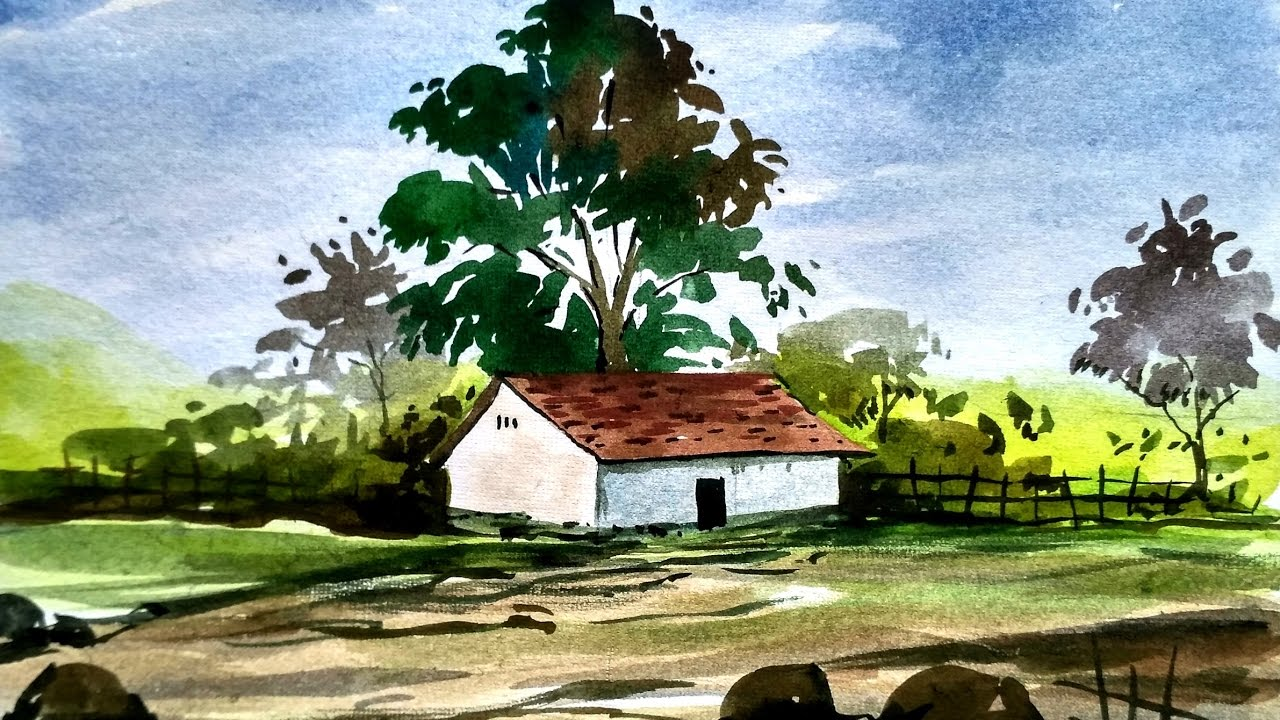 1280x720 Simple Watercolor Landscape Painting, Watercolor Painting For