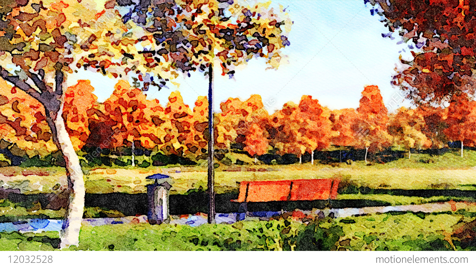 1920x1080 Colorful Autumn Trees In City Park Watercolor Landscape Stock