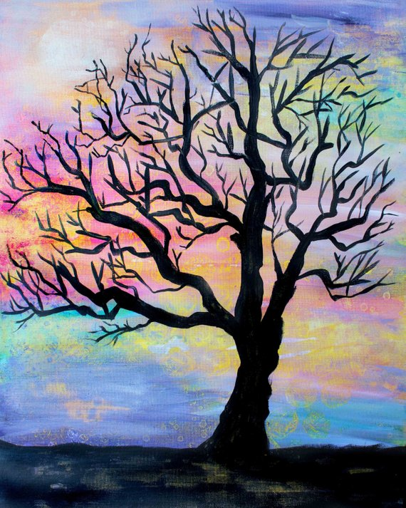 570x713 Tree Silhouette Colorful Tree Silhouette Tree Painting Tree Etsy