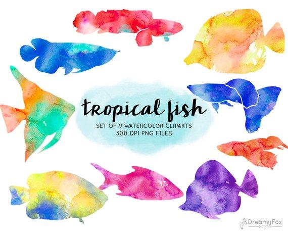 570x459 Watercolor Tropical Fish Clipart Tropical Fish Watercolor Etsy