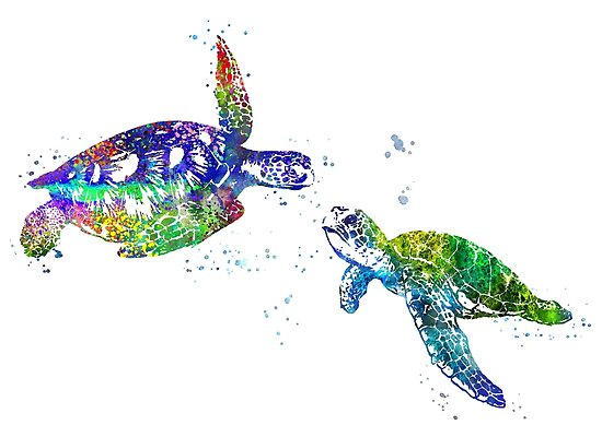 550x389 Sea Turtle, Watercolor Sea Turtle Posters By Rosaliartbook