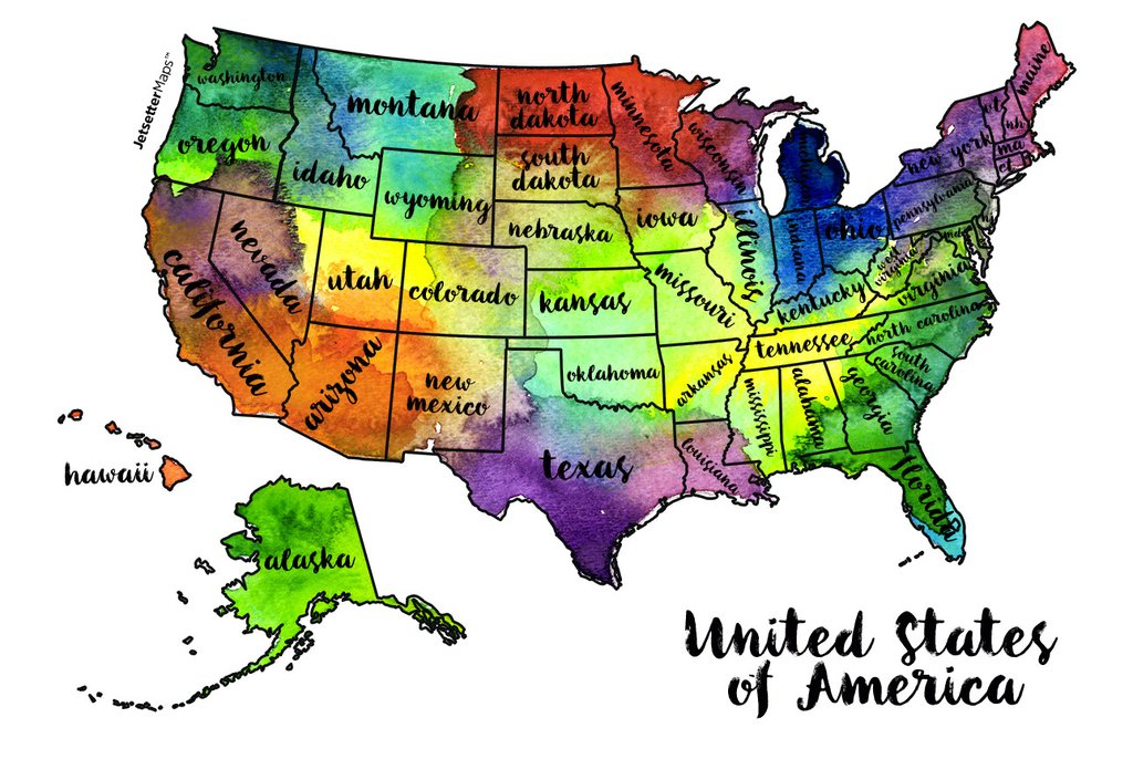 Watercolor Us Map at GetDrawings.com | Free for personal use ...