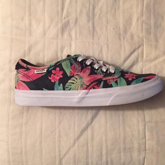8c6f6d2ebda145 580x580 Vans Shoes Hawaiian Floral Watercolor Poshmark