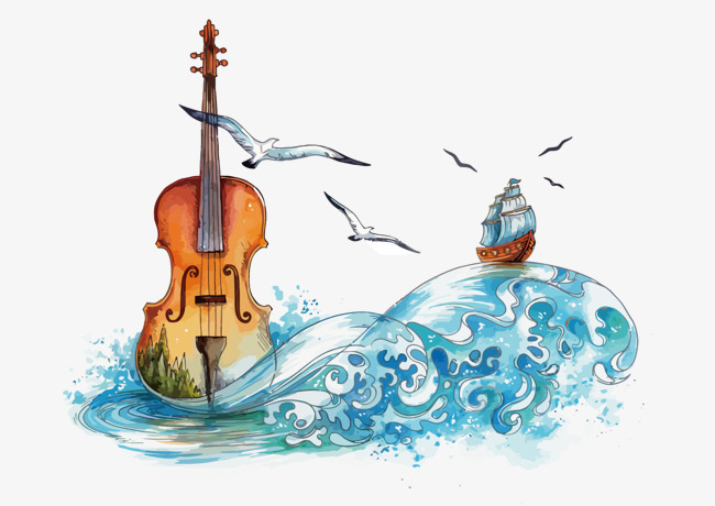 650x460 Vector Sea Violin, The Sea, Watercolor, Violin Png And Vector For