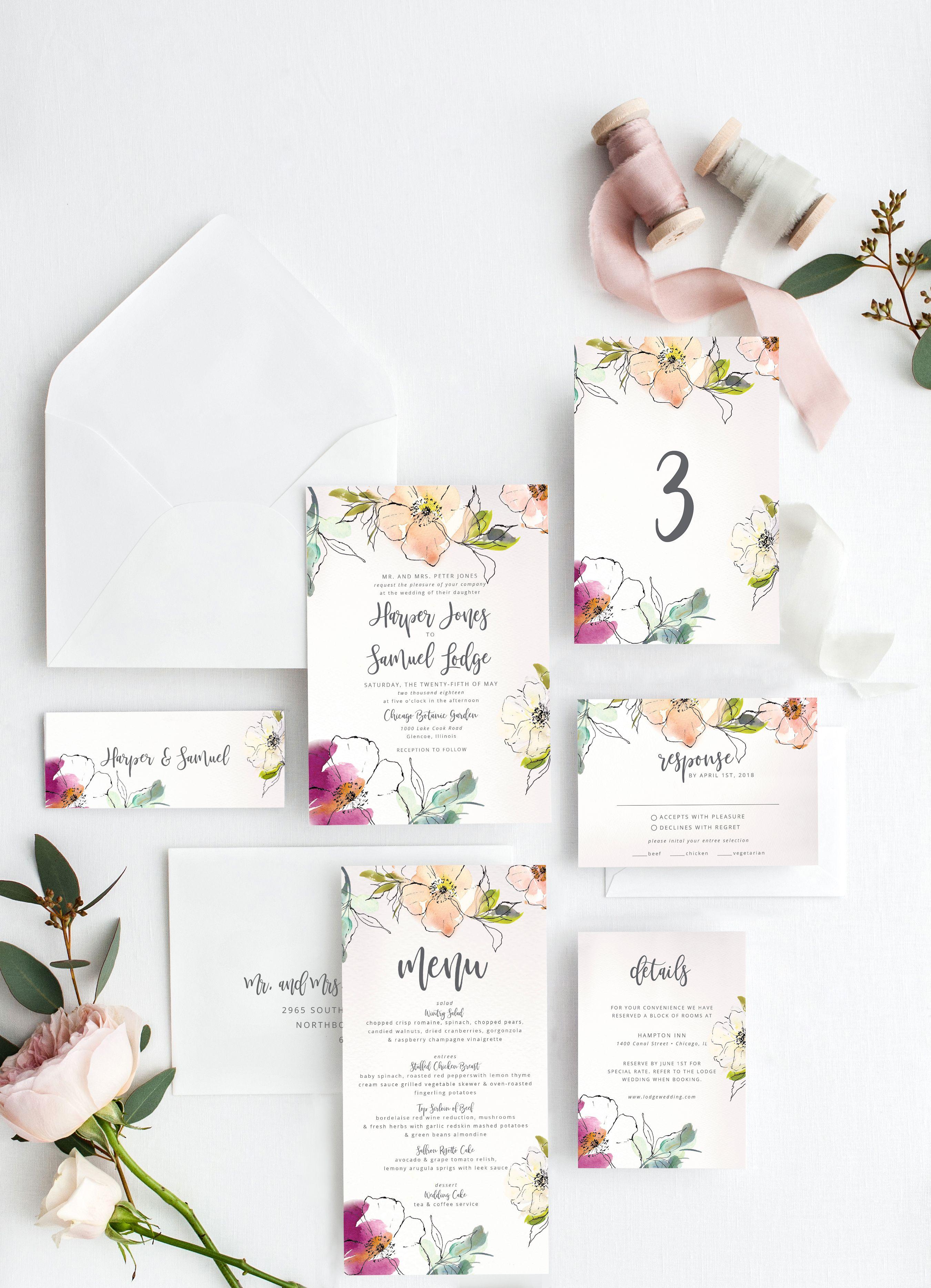 Watercolor Wedding Invitation Templates At GetDrawings