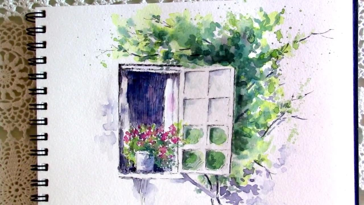 1280x720 Line And Wash Watercolor Painting