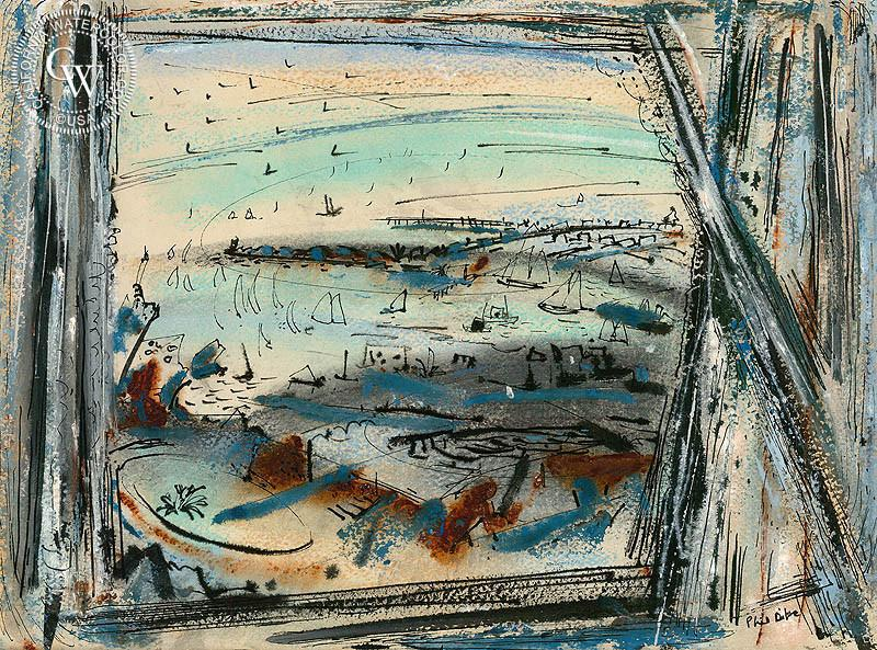 800x593 The Window, 1948, A Fine Art Watercolor Painting By Phil Dike