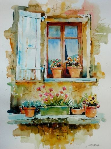 384x512 Tuscany Paintings Of Windows Tuscan Villa Window By David