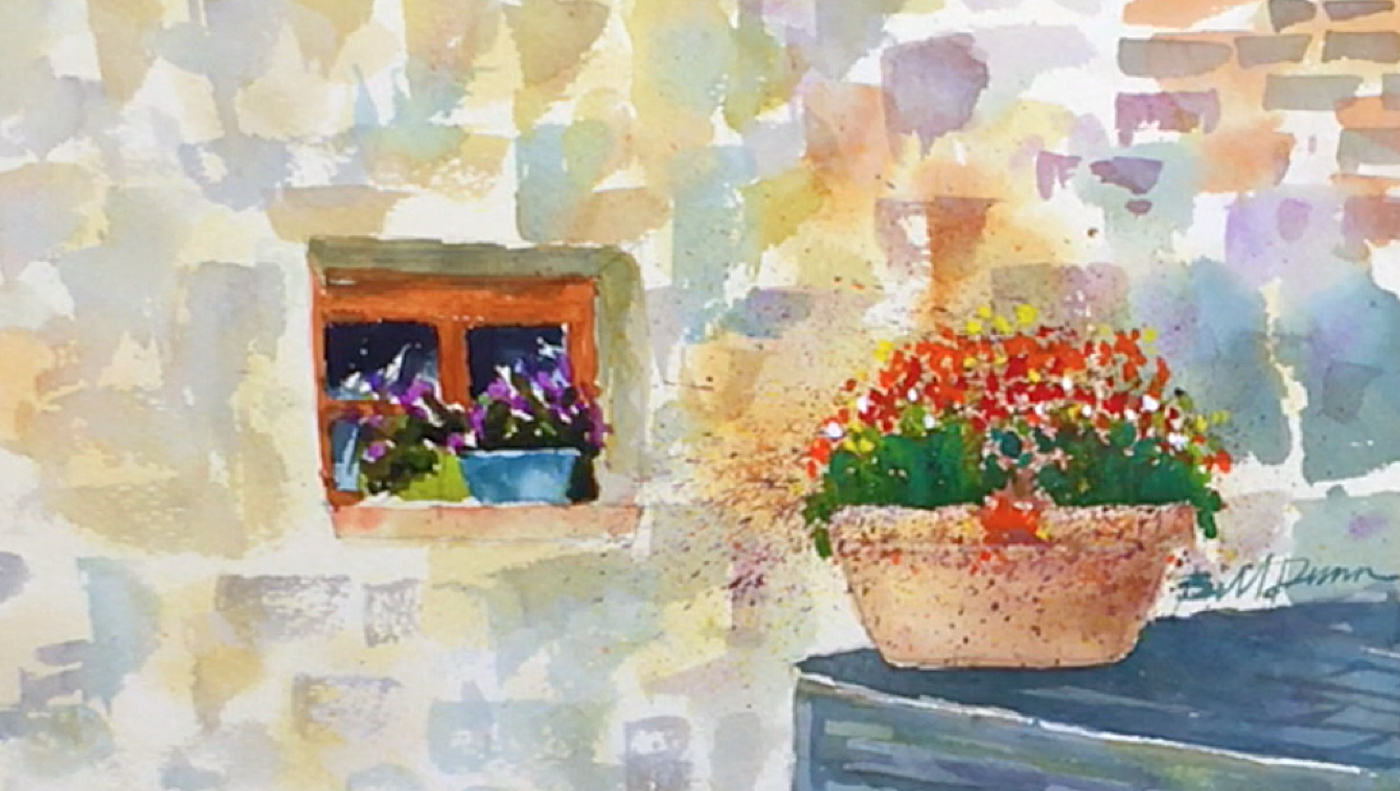 1400x791 View Of A Window Buckets Of Colorful Watercolor Flowers