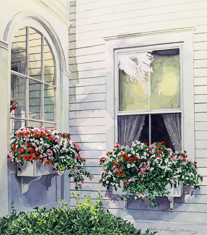 795x900 Window Boxes Painting By David Lloyd Glover