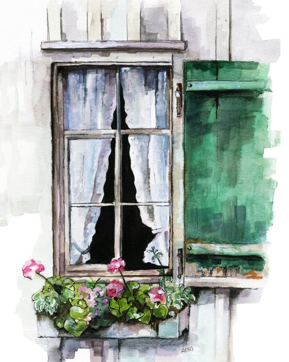 570x712 Window Painting Print From Original Watercolor Painting Etsy