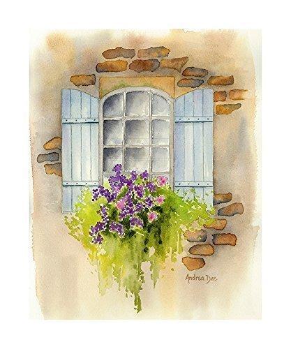 417x500 Window Flower Box Watercolor 8x10 Unframed Print Handmade