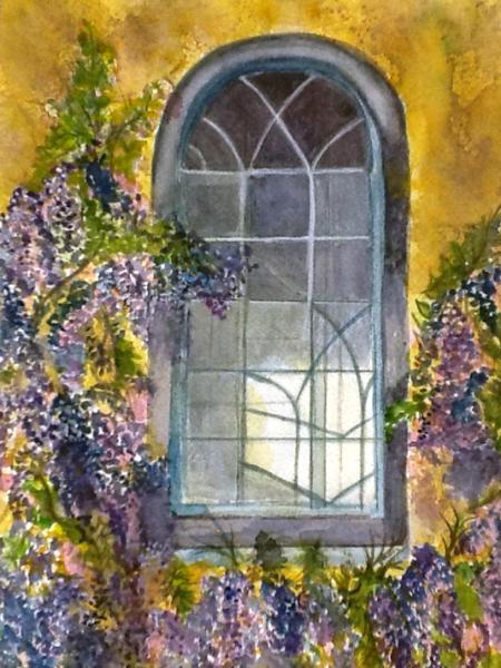 450x600 Wisteria On The Window, Watercolor
