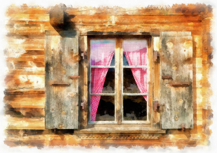 900x634 Wooden Window Of A Chalet In Switzerland Watercolor Painting