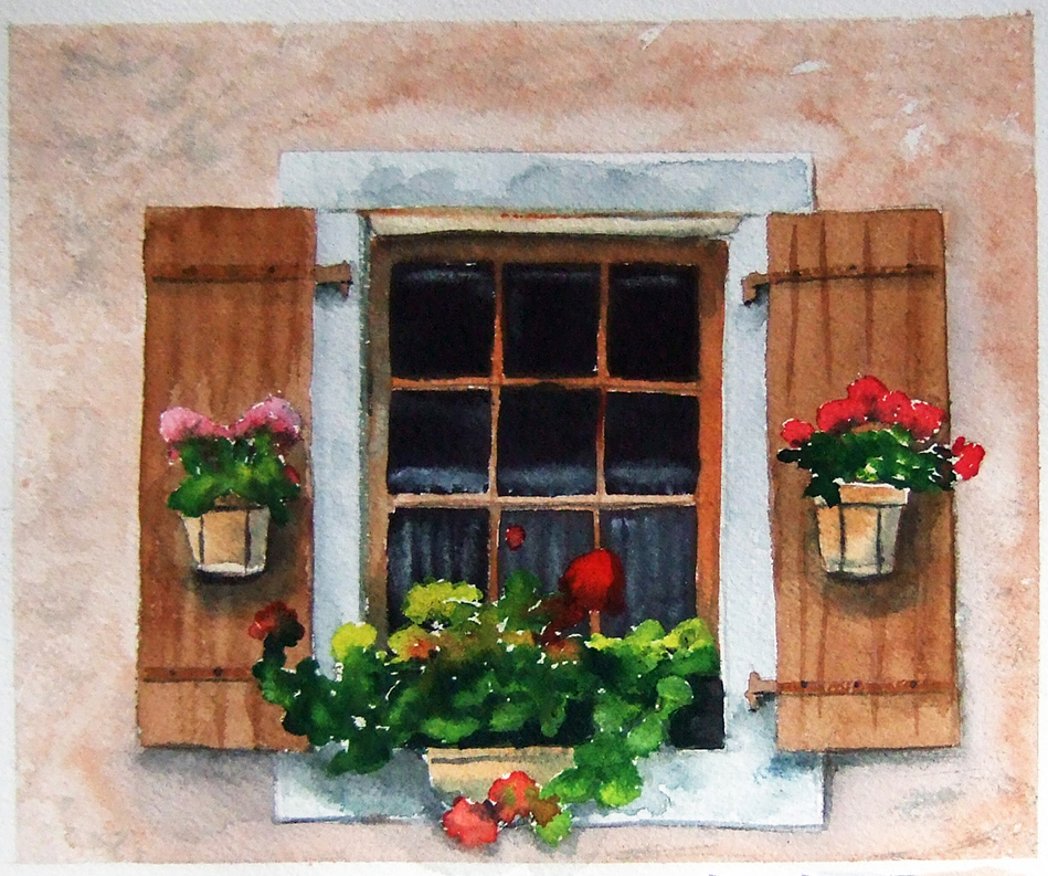 949x793 French Shutters Window Flowers Watercolor Painting French Art
