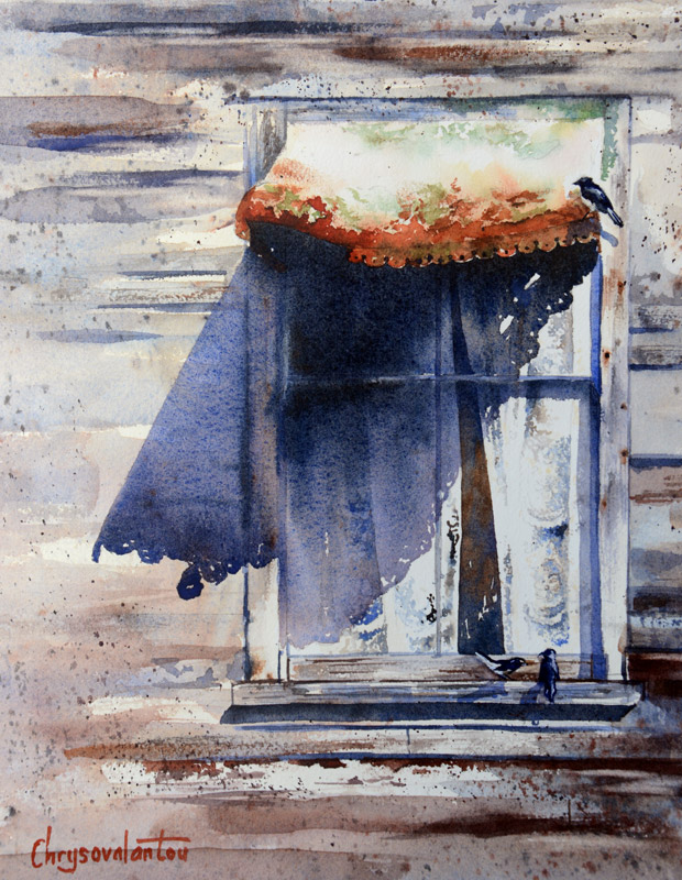 620x800 Old Window Watercolor Painting By Chrysovalanyou Mavroudis