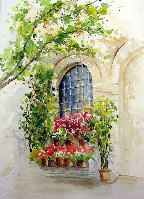 464x640 Watercolor Window Scene Doors And Windows Art