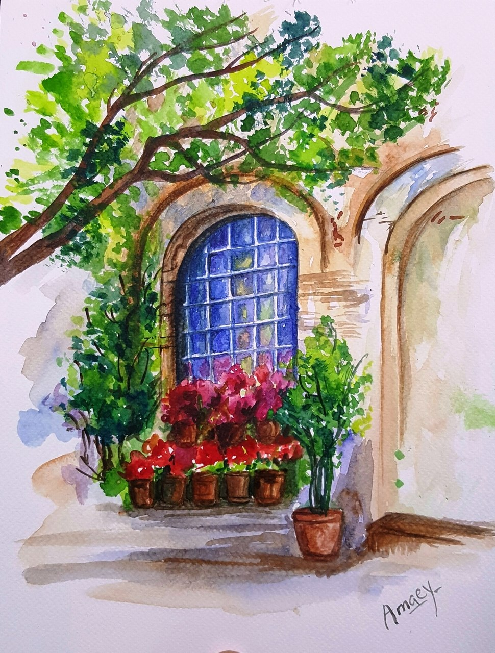 970x1280 Buy The Arched Window Handmade Painting By Amaey Parekh. Code