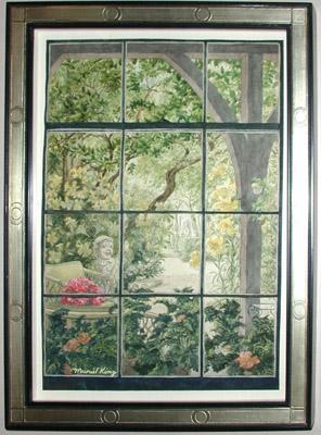296x400 Fine Art, Garden View From Window, Muriel King, Vintage Watercolor
