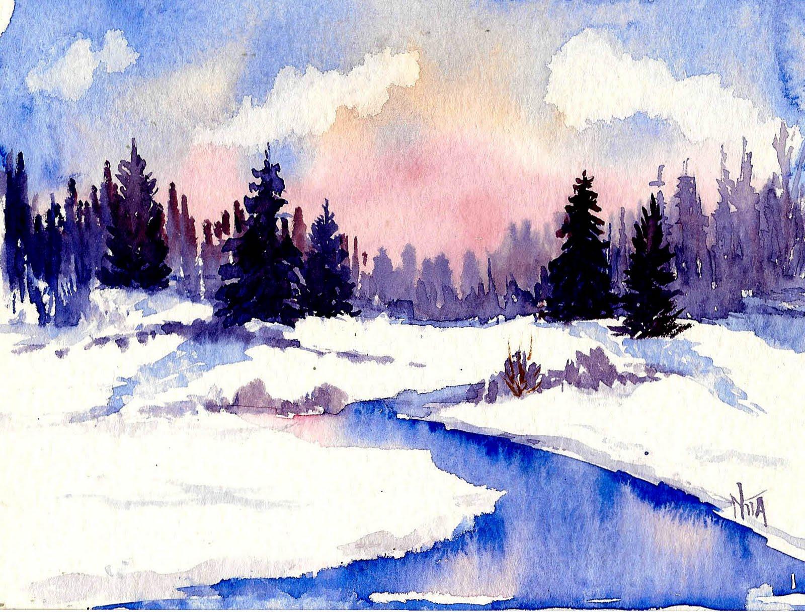 Watercolor Winter Landscapes